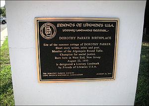 Dorothy Parker - Plaque at Parker's birthplace