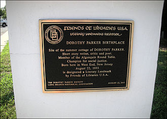Dorothy Parker - Plaque at Parker's birthplace