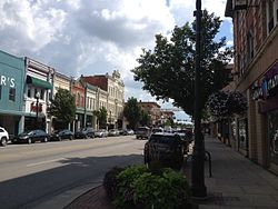 Downtown Bowling Green, Ohio as seen from the intersection of Main St. and Wooster St.