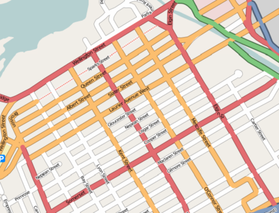 Map of Downtown Ottawa (from OpenStreetMap).