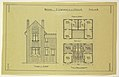 Drawing, Rendering of Elevation and Floor Plan of a Two Family Mass-operation House (Type No. 2), ca. 1921 (CH 18385007-2).jpg