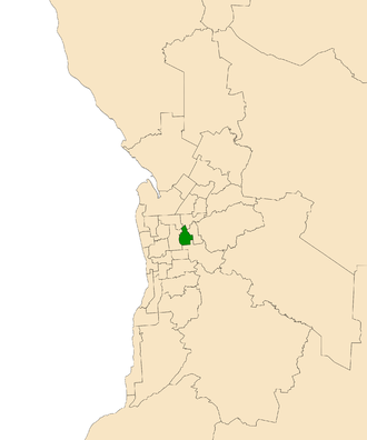 Electoral district of Dunstan - Electoral district of Dunstan (green) in the Greater Adelaide area