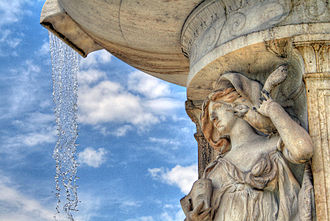 Dupont Circle Fountain - Water falling over the figure representing the Sea.