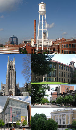 Clockwise frae tap: Durham skyline, North Carolina Schuil o Science an Mathematics, Five Pynts, Carolina Theater, Durham Performin Airts Center, Duke Chapel