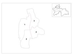 Kort over Dusjanbes distrikt samt byens beliggenhed i Tadsjikistan