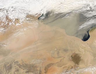 Geography of Libya - A dust storm over the Tripolitania region of Libya. Over 90% of Libya is desert.