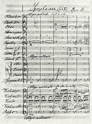 Symphony No. 3 (Dvořák) - The first page of the autograph score of Dvořák's third symphony