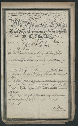 Martin Luther University of Halle-Wittenberg - Diploma 1833 (Source: State Archive in Poznań)