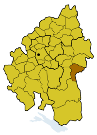 Lage des Kirchenbezirks Ulm innerhalb der Evang. Landeskirche in Württemberg
