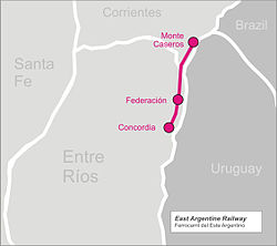 East Argentine Railway Wikipedia - Argentina rail network map
