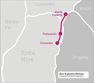 East Argentine Railway - Image: East argentine railw map