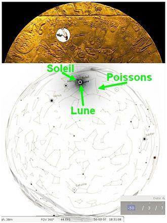 Dendera zodiac - Solar eclipse on 7 March 51 BC