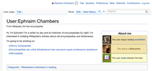 Editing Wikipedia screenshot p 14, Ephraim Chambers userpage.png