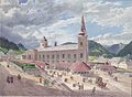 Eduard Gurk - Die Basilika Mariazell vom Kirchplatz aus - ca 1833.jpeg