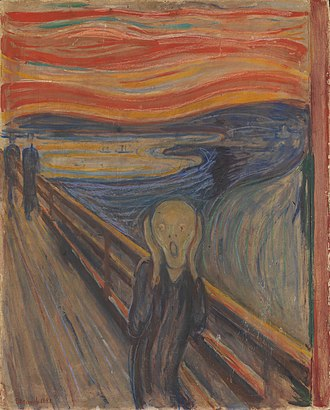 Expressionism - Edvard Munch, The Scream, 1893, oil, tempera and pastel on cardboard, 91 x 73 cm, National Gallery of Norway, inspired 20th-century Expressionists