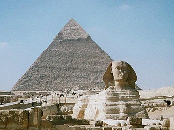 Khafre's Pyramid (4th dynasty) and Great Sphinx of Giza (c.2500 BC or perhaps earlier)