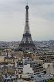 Eiffel Tower from Arc de Triomphe de l'Étoile, Paris 14 June 2015.jpg