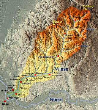 Wiese - Catchment area and river system of the Wiese