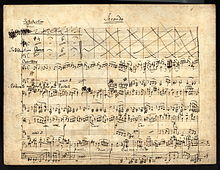 eleven-staved music manuscript sheet written in black ink, headed 'Secondo'