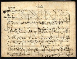 Part of the overture to Elijah arranged by Mendelssohn for piano duet (manuscript in the Library of Congress) (Source: Wikimedia)