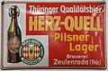 Enamel advertising sign, Thüringer Qualitätsbier HERZ-QUELL, Brauerei Zeulenroda.JPG