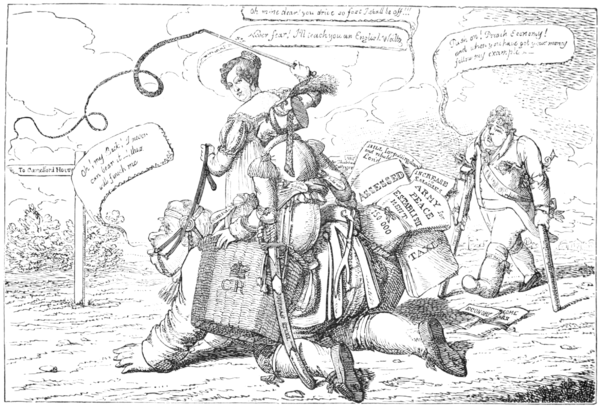 English Caricaturists, 1893 - Leap Year, or John Bull's Peace Establishment.png