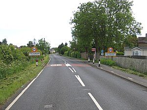 Histon Road - The entrance to the village of Cottenham on the B1049 road, also known as Histon Road at this point.