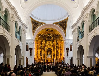 The interior of the Hermitage of El Rocio during a Catholic ceremony. Ermita del Rocio, El Rocio, Huelva, Espana, 2015-12-07, DD 03.JPG