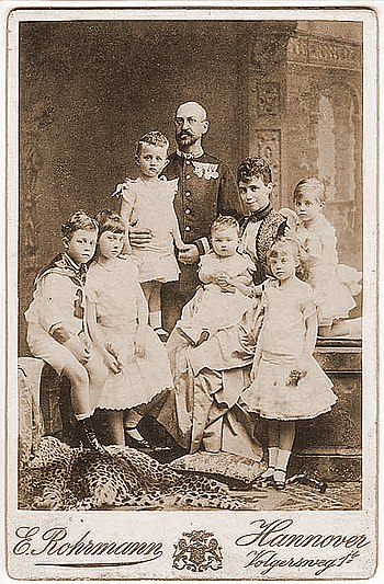 Ernest Augustus with family, photographed by Karl Jagerspacher, 1887 Ernest Augustus, Crown Prince of Hanover and Princess Thyra of Denmark with family.jpg