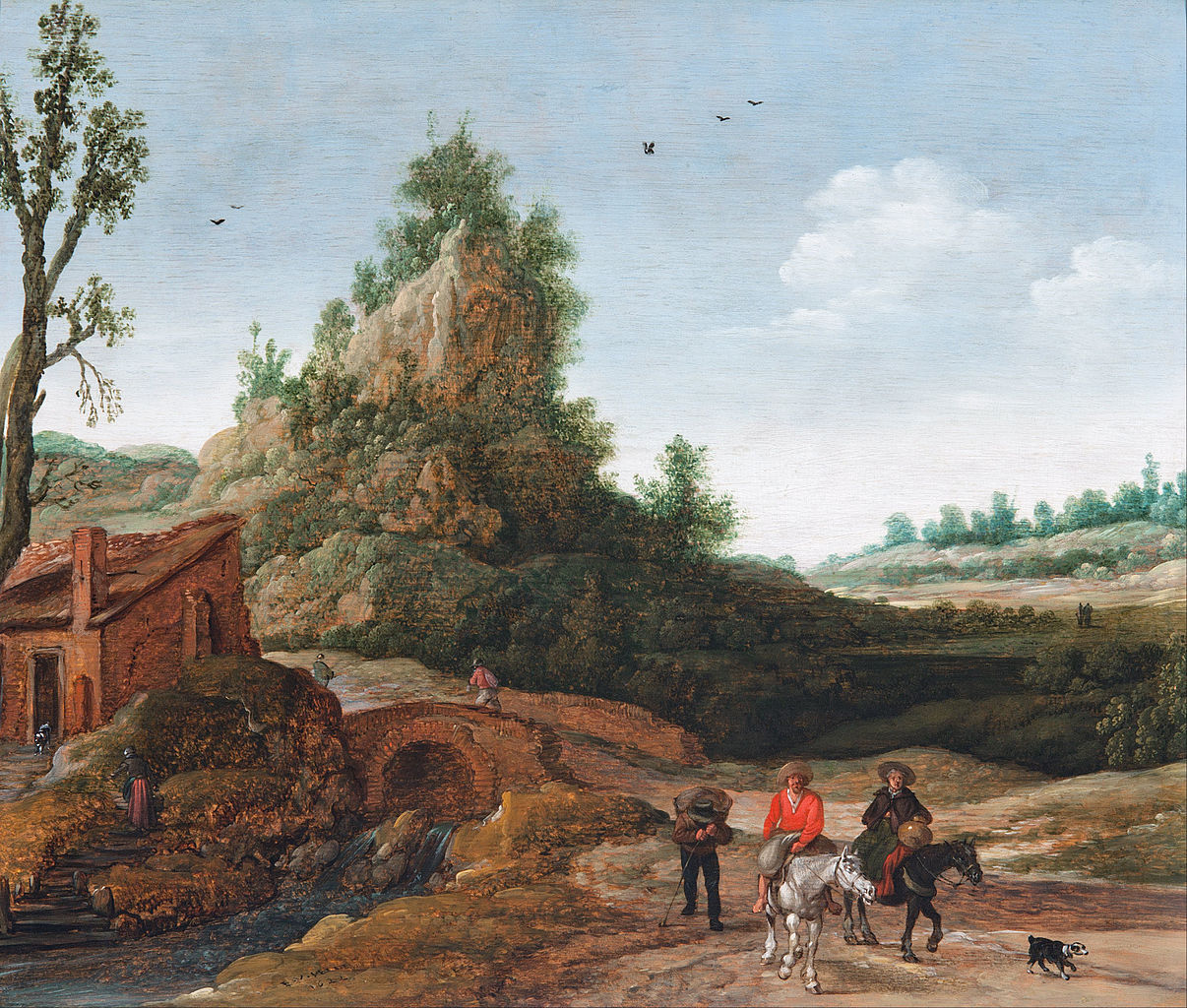 https://upload.wikimedia.org/wikipedia/commons/thumb/c/c5/Esaias_van_de_Velde_-_A_landscape_with_travellers_crossing_a_bridge_before_a_small_dwelling%2C_horsemen_in_the_foreground_-_Google_Art_Project.jpg/1206px-Esaias_van_de_Velde_-_A_landscape_with_travellers_crossing_a_bridge_before_a_small_dwelling%2C_horsemen_in_the_foreground_-_Google_Art_Project.jpg