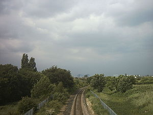 Esk Valley line - Esk Valley line, passing near Berwick Hills in Middlesbrough
