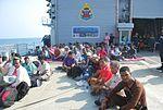 Evacuees waiting on Helo Deck during Operation Raahat.JPG