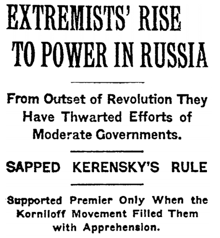 The New York Times headline from 9 November 1917 Exterminists' Rise in Power in Russia.png