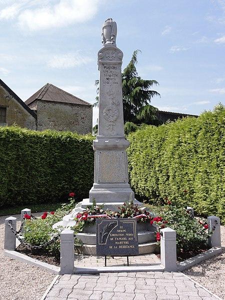Famars (Nord,Fr) monument aux morts