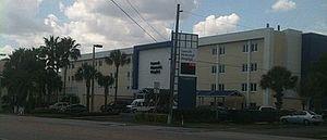 Fawcett Memorial Hospital - Facade of Fawcett Memorial Hospital as seen from Olean Boulevard