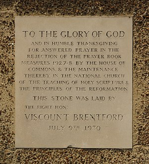 William Joynson-Hicks, 1st Viscount Brentford - Plaque at St Andrew's parish church, Felixstowe, Suffolk, commemorating the defeat of the 1928 Prayer Book in the House of Commons