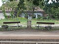Felsőgöd train stop, benches and water well, 2020 Göd.jpg