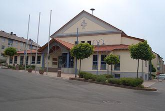 Hettenleidelheim - Festhalle Hettenleidelheim, originally built by the gymnastics club Gut-Heil as gym.