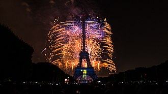 Bastille Day - Fireworks at the Eiffel Tower, Paris,  Bastille Day 2014
