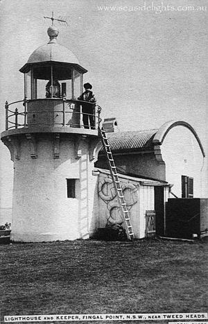 Fingal Head Light - An historical view of the lighthouse pre-1920, with the lightkeeper of the day