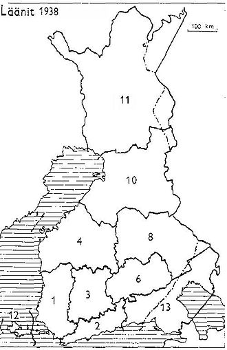 Petsamo Province - Provinces of Finland 1938: 1: Turku and Pori, 2: Uusimaa, 3: Häme, 4: Vaasa, 6: Mikkeli, 8: Kuopio, 10: Oulu, 11: Lapland, 12: Åland, 13: Viipuri