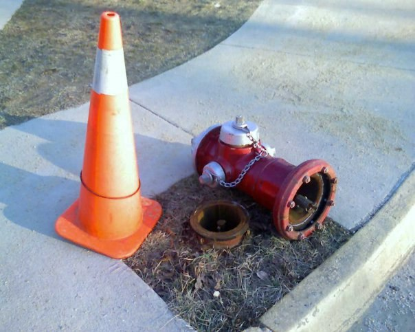 Fire hydrant knocked over