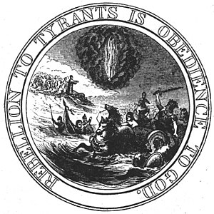 Great Seal of the United States - Interpretation of the first committee's seal proposal, made by Benson Lossing in 1856.  The obverse drawing is slightly incorrect; the linked state initials should be on the shield itself.