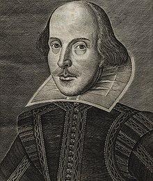 """Der Porträt-Stich Shakespeares von Martin Droeshout auf dem Titel des """"First Folio"""" (1623) (Quelle: Wikimedia)"""