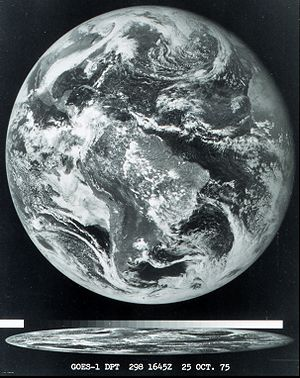 Geostationary Operational Environmental Satellite - The first image obtained from the GOES-1 satellite, 1975 October 25, 1645 GMT.