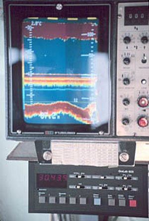 Fishfinder - Cabin display of a commercial or oceanographic fathometer sonar