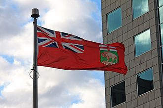 Flag of Manitoba - The flag of Manitoba flying in Downtown Winnipeg.
