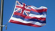 The flag of Hawaiʻi flying in Haleakalā National Park