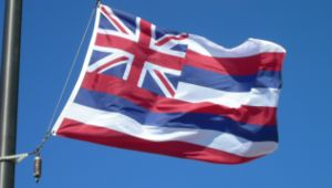 The flag of Hawaii flying in Haleakalā Nationa...