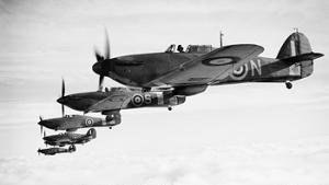HMS Avenger (D14) - Fleet Air Arm Sea Hurricanes flying in formation